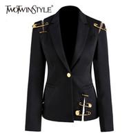 Twotwinstyle oco out patchwork lace up women's blazer confuso manga longa magro elegante terno feminino 2020 outono moda novo lj200907