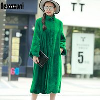 Nerazzurri Long faux fur coat women winter solid Stand Collar loose green black pink plush outerwear plus size 5XL 6XL 7XL Y200926
