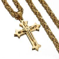 Цепи бабушка шикарный высококачественный нержавеющая сталь Иисус Христос крест кулон ожерелье 4 мм византийская цепочка звена золотой цвет для мужчин