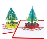 Christmas 3D Pop Up Greeting Cards Xmas Greeting Paper Cards Christmas Tree Decoration Postcard 3D Xmas Gift Paper Card Wholesale DHL free