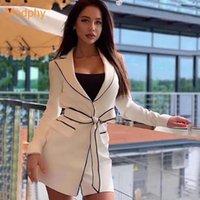 Casacos de Trench das Mulheres Modphy Primavera Sólido Blazer para Mulheres Collar Lapela Branco Manga Longa Cinto Túnica Casaco Top Feminino 2021 Roupas de moda