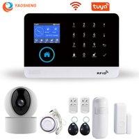 Systèmes d'alarme TUYA WIFI GSM Système de sécurité Smart Home APP Contrôle avec détecteur de fumée de fumée de la caméra IP Système de sécurité sans fil SMARTHOUSE