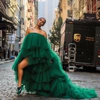 Mujer africana de moda vestido de tul prom vestidos de verde oscuro niveles volantes barrido sin tirantes de tren vestido de noche Vestido de noche