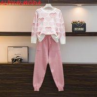ALPHALMODA 2020 de moda del amor del corazón con cuentas dulce de manga larga jersey + pantalones de las mujeres 2pcs juego de la manera Azul Rosa Hit Grupo de colores