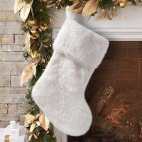 белый флис Рождественский чулок мешок Xmas Tree Висячие Подвеска Камин украшения Праздничные украшения Подарки GWF1821
