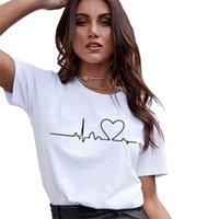 2019 Yeni Kadın T-Shirt Casual Harajuku Aşk Baskılı Tops Tee Yaz Kadın T Gömlek Kısa Kollu T Gömlek Kadın Giyim Için
