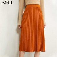 Etekler Amii Minimalizm Sonbahar Kadın Etek Moda Katı Gevşek Örme Pileli kadın Elastik Bel Kadın 12040669