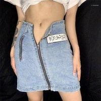 Moda Zipper Pocket Denim Gonne Casual Colore Naturale Linea Gonne Lettera ricamo Designer Denim Gonne