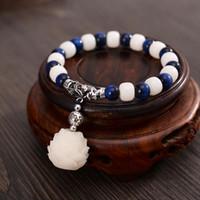 Bedelarmbanden Wit Bodhi Lotus Fish Blue Tiger Stones Six True Words Mantra Kralen Kwaliteit Sieraden