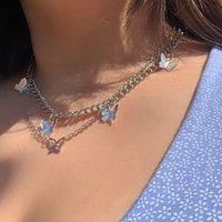 Кулон ожерелья Alyxuy Маленькая Чарчатая Бабочка Цепочка для женщин Девушки Золотой Цвет Несколько бабочек Ожерелье Модные Ювелирные Изделия