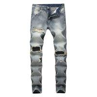 Modische Knie Loch gerade Jeans Männer Marke Motorrad Loch Baumwollhosen für Männer Jeans elastische Zerstörung reißen Design Hose