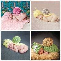 Gorras sombreros encantador dibujos animados animal pequeño caracol sombrero hecho a mano bebé niños niñas estudio joder ropa tejer