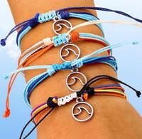 Браслет Дружбы Wax Строка Тканые браслеты Многослойные Тканые волна Шарм регулируемый Плетеный браслет для женщин девушки дар DHl бесплатно