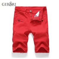 جينز الرجال جيرسي الدينيم السراويل نوعية جيدة الرجال قصيرة الرجال القطن الصلبة مستقيم الذكور الأحمر عارضة الحجم