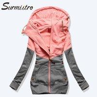 Surmiitro İlkbahar Kadınlar Ceket Sonbahar Kış Büyük Boy Kapşonlu Sweatshirt Fermuar Kapüşonlular Artı boyutu Coat Kadın Ter Femme 200924