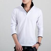 Cuello de solapa Polos para hombre Manga larga Sólido Slim Polo Shirt Masculino Adolescente Otoño Ropa Doble Color
