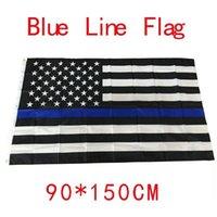 4 tipi 90 * 150 cm Blueine USA Bandiere della polizia 3x5ft Thin Blue Line Bandiera USA Bandiera nera, Bianco e Blu Bandiera Americana con Gommoni in ottone