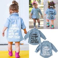 Focusnorm Bebek Çocuk Kız Bebek Sonbahar Sıcak Giysiler Denim Uzun Kollu Gömlek Bluz Ceket Gömlek Ceket Harf Tatlı 2-7Year yazdır