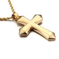 Jungen Herren Kette poliert Großer Kreuz Anhänger Halskette Edelstahl Twist Seil Kette Gold Silber Farbe Ton Kreuz Halskette 60cm