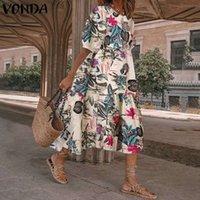 Повседневные платья женское платье для вечеринки летние богемные длинные короткие рукава сарафардица цветочные напечатанные Vonda халат Femme Plus размер