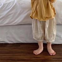 Fashions coréen en lin plus récents Coton Pantalons Enfants solides Grande qualité Pantacourt souple lanterne Baggy Pantalon gros