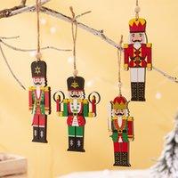 Деревянный орех солдат подвеска для солдат с рождественской елкой солдат кулон декорация красочные напечатанные деревянные висит солдат орнамент GWD8971