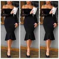 Designer Mermaid Kleider der beiläufigen Frauen Bodycon Kleider Frauen Kleidung der reizvollen Frauen beiläufige Kleider Mode Spitze Panelled Strapless Womens
