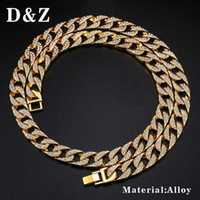 D&Z 18-30 inch Iced Out Bling Cubic Zircon Cuban Link Chain Necklace For Men Charm Miami Chain Hip Hop Jewelry