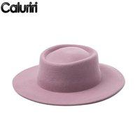 Sombreros de ala nomo caluriri lana fedora sombrero invierno al aire libre dama elegante ancho 100% mujeres rosa temperamento