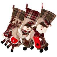 Titolare Grande Christmas Stocking Sock Plaid regalo Decorazione albero di Natale Capodanno regalo Candy Bags