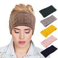 Новые женщины зимние теплые плюшевые широкие шерстяные волосы вязание крючком повязки крючков для волос для волос