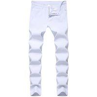 Herren Jeans Fashon Weiß Jeans-dünne Jeanshosen in Ganzkörper High Street Motorrad Hosen-freies Verschiffen