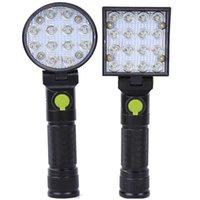 휴대용 제등 24W 16W 12W LED 비상 사냥 토치 18650 USB 충전식 작업 빛 180 ° 검사 램프 경고 스트로브