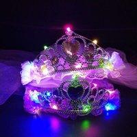 مجوهرات الزفاف تيارا أغطية الرأس الشالات الأطفال تاج الزهور في حفل زفاف أكاليل LED الشعر أغطية الرأس 70CM طول طفلة أغطية الرأس