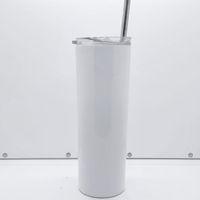 Vente en gros de haute qualité SUBLIMATION SUBLIMATION SHIGNE SHIGHNIE SIGNALISÉE 20 OZ BLANCS OZ MULES DE CAFÉ À CAFÉ Bouteille d'eau à vide en acier inoxydable avec paille de couvercle