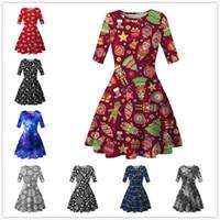 Kadınlar Diz Boyu Elbise Yeni Noel Ağaçları Snowflower Baskılı Tunik Elbise Yarım Kol Zayıflama Etek Noel Parti Elbise Giyim D9304