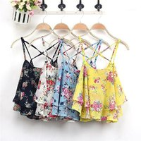 Print Women Chiffon Blouse Tanks Camis Female Clothing Womens 2020 Luxury Designer Summer Clothes Tops Criss-Cross