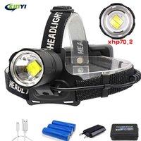 90000LM Potente XHP70.2 / XHP50 Led faro 3Mode Zoom Lanterna torcia lampada frontale per pesca di campeggio esterna