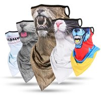 3D животных Printed Многоцелевой горловиной Шарф с Ear Loops Велоспорт Пешие прогулки ветрозащитный Face Mask Горнолыжный костюм Halloween Бандана
