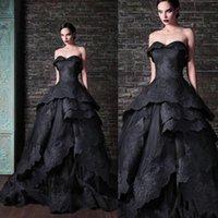 Korse Gotik Siyah Gelinlik Vintage Katmanlı Ruffles Dantel Balo Sweep Tren Tie yedekle Gelin Custom Vestido de Noiva