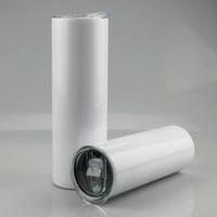 20 onças 30 onças sublimação Liso em branco magro aço inoxidável Copo copo magro branco com tampa palha BWE1819 café garrafa de água Cilindro