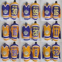 Los Angeles Kings Vintage Version Jersey 16 Marcel Dionne 20 Luc Robitaille 22 Tiger Williams 8 Drew Doughty 99 Wayne Gretzky الهوكي الفانيلة