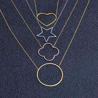 ZUUZ Colares chocker gargantilha neckless ouro rosa pingente trevo colar de acessórios femininos jóias