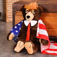 62cm Donald Trump Flagge Junge Spielzeug mit Bärentriver USA Präsident Teddy Kinder ausgestopfte Sammlung Puppe Plüsch Geschenk für Bären Spielzeug Ss Hfene