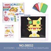 rompecabezas magnético de color de la imagen juguetes manuales de los niños creativos montados iluminación de juguete de regalo tanto niño y niña