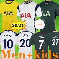 20 21 Kane 아들 Bergwijn Ndombele 축구 유니폼 2020 2021 Lucas Dele Jersey 축구 키트 셔츠 남성 및 키즈 키트 세트