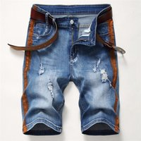 Hommes Shorts Trou droit rayé Été homme longueur au genou lumière Washed Demin courte Mode homme Vêtements High Street