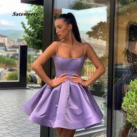 Sencillo mini corto de graduación de regreso a casa vestidos drapeados falda corta púrpura 2021 del regreso al hogar del cóctel del partido del vestido vestido de fiesta