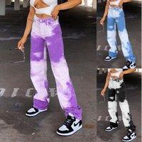 Teñido anudado del color del contraste del diseñador para mujer Pantalones estilo de Hip Hop de cintura alta pantalones rectos otoño Mujer Ropa
