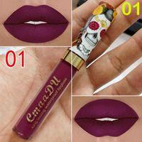 Hot nova maquiagem CmaaDu Matte 6 cores Líquido batom impermeável e de longa duração Crânio Tupe Batom Lip Make up Lipgloss